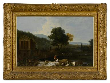 View 2. Thumbnail of Lot 46. An Italian river scene, with the Temple of Clitumnus and ruins, two figures and cows.