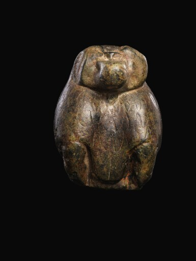 View 2. Thumbnail of Lot 56. AN EGYPTIAN SERPENTINE FIGURE OF A BABOON, 26TH/30TH DYNASTY, 664-342 B.C..