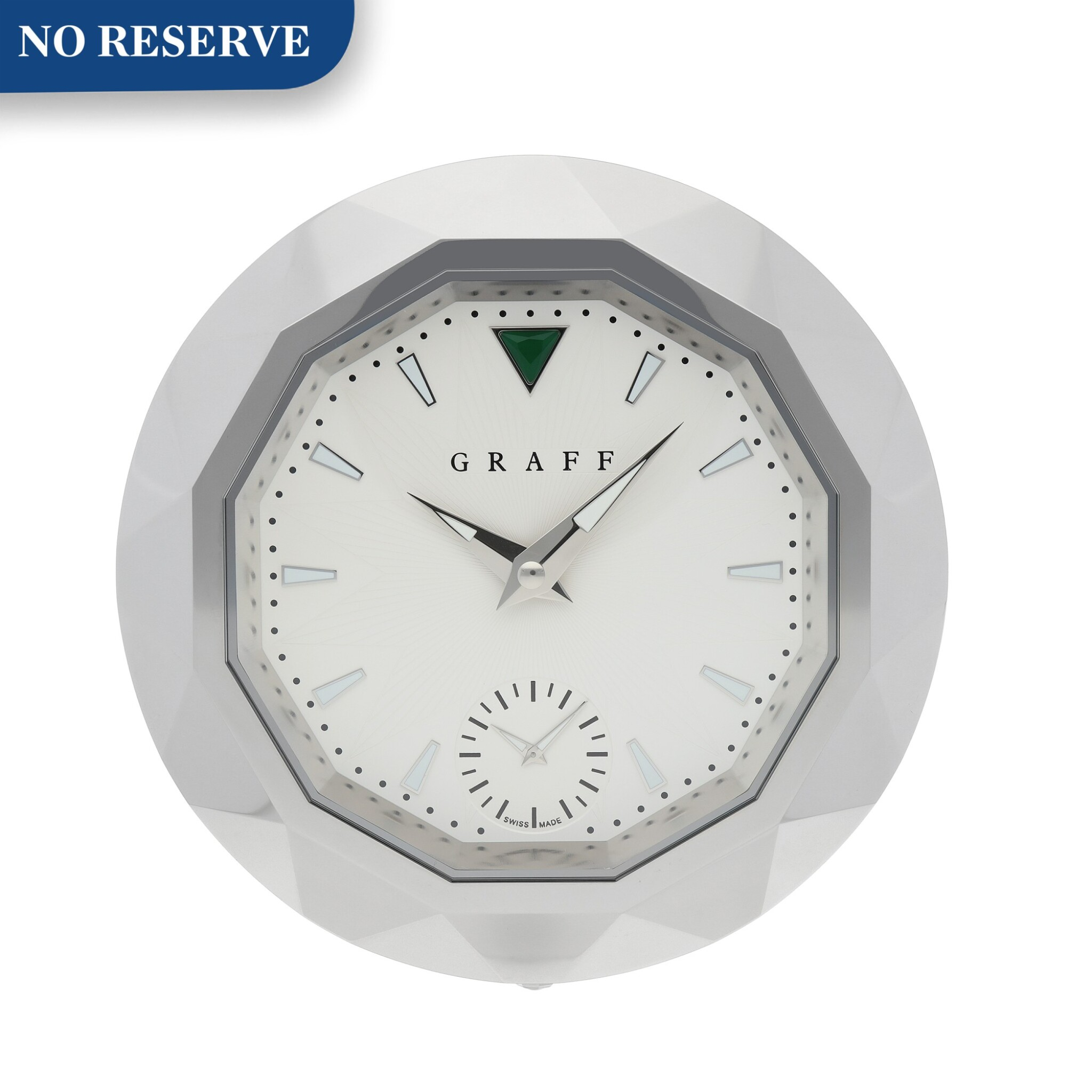 View full screen - View 1 of Lot 437. STAINLESS STEEL DUAL TIME ZONE DESK CLOCK CIRCA 2012.