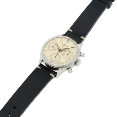 View 4. Thumbnail of Lot 72. VALJOUX 72  A STAINLESS STEEL CHRONOGRAPH WRISTWATCH, ORIGINALLY OWNED BY NASA ASTRONAUT, WALTER 'WALLY' M. SCHIRRA, CIRCA 1950.