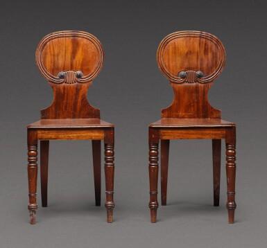 View 2. Thumbnail of Lot 169. A pair of George IV mahogany hall chairs, circa 1825.