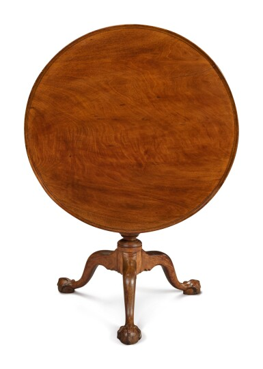 View 3. Thumbnail of Lot 35. Fine Chippendale Carved and Figured Mahogany Dish-Top Tilt-Top Tea Table, Philadelphia, circa 1760.