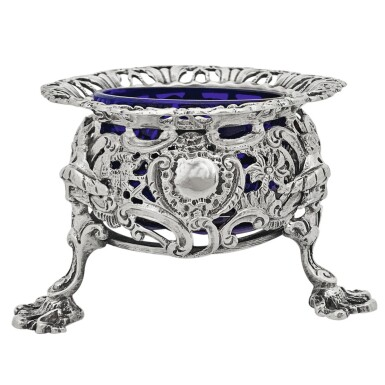 View 2. Thumbnail of Lot 262. A SET OF FOUR GEORGE II SILVER CHINOISERIE SALTS, THOMAS HEMING, LONDON, 1754.