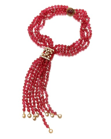 View 1. Thumbnail of Lot 38. Red vitrum pastae and crystal necklace.