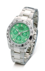 ROLEX | COSMOGRAPH DAYTONA, REFERENCE 116509H, A WHITE GOLD CHRONOGRAPH WRISTWATCH WITH GREEN CHRYSOPRASE DIAL AND BRACELET, CIRCA 2015