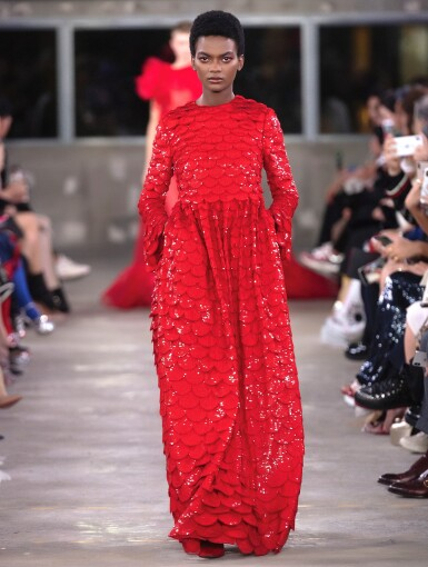 View 10. Thumbnail of Lot 34. Red Tulle Illusion Dress à merlons, Worn by Jane Fonda at the 2020 Screen Actors Guild Awards, Pre-Autumn 2019 Collection.