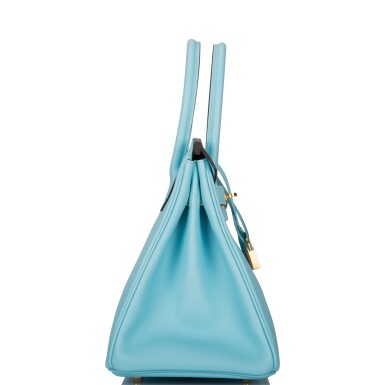 View 3. Thumbnail of Lot 18. Hermès Bleu Atoll Birkin 30cm of Epsom Leather with Gold Hardware .