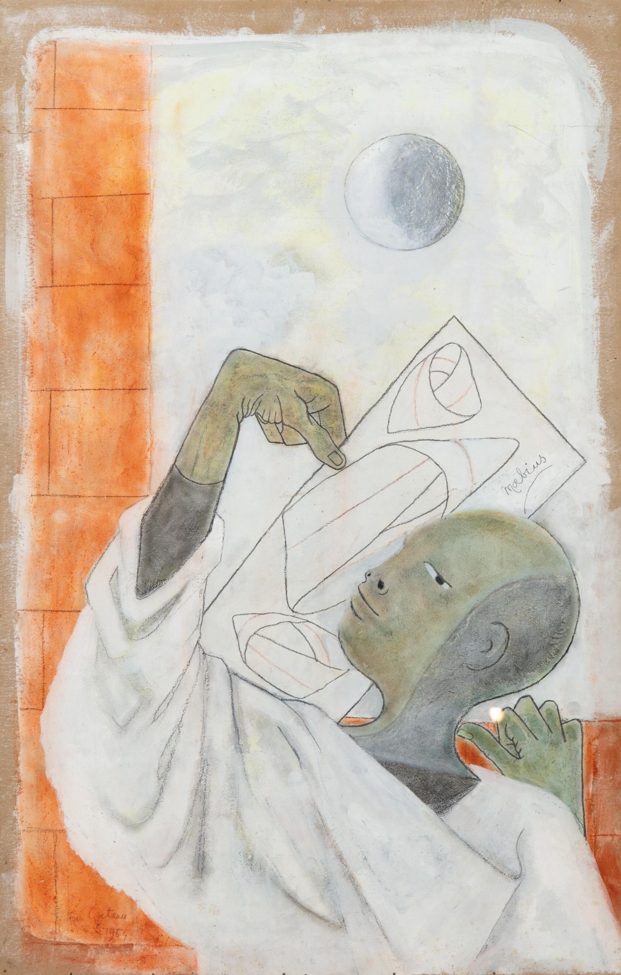 View full screen - View 1 of Lot 35. JEAN COCTEAU. Astrologue IV. Moebius 1954. Technique mixte (pastel, huile et gouache) sur carton fort, signée, 1954.