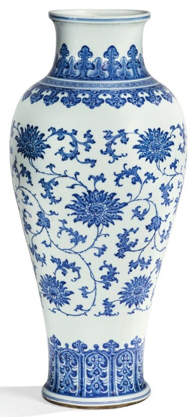 View 1. Thumbnail of Lot 8. RARE GRAND VASE BALUSTRE EN PORCELAINE BLEU BLANC DYNASTIE QING, XVIIIE SIÈCLE | 清十八世紀 青花纏枝蓮紋觀音尊 | A rare large blue and white 'lotus' baluster vase, Qing Dynasty, 18th century .