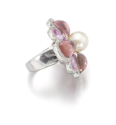 View 2. Thumbnail of Lot 141. TOURMALINE, CULTURED PEARL AND DIAMOND RING, CHANEL.