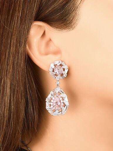 View 4. Thumbnail of Lot 1709. Pair of Coloured Diamond and Diamond Pendent Earrings   彩色鑽石 配 鑽石 耳墜一對.