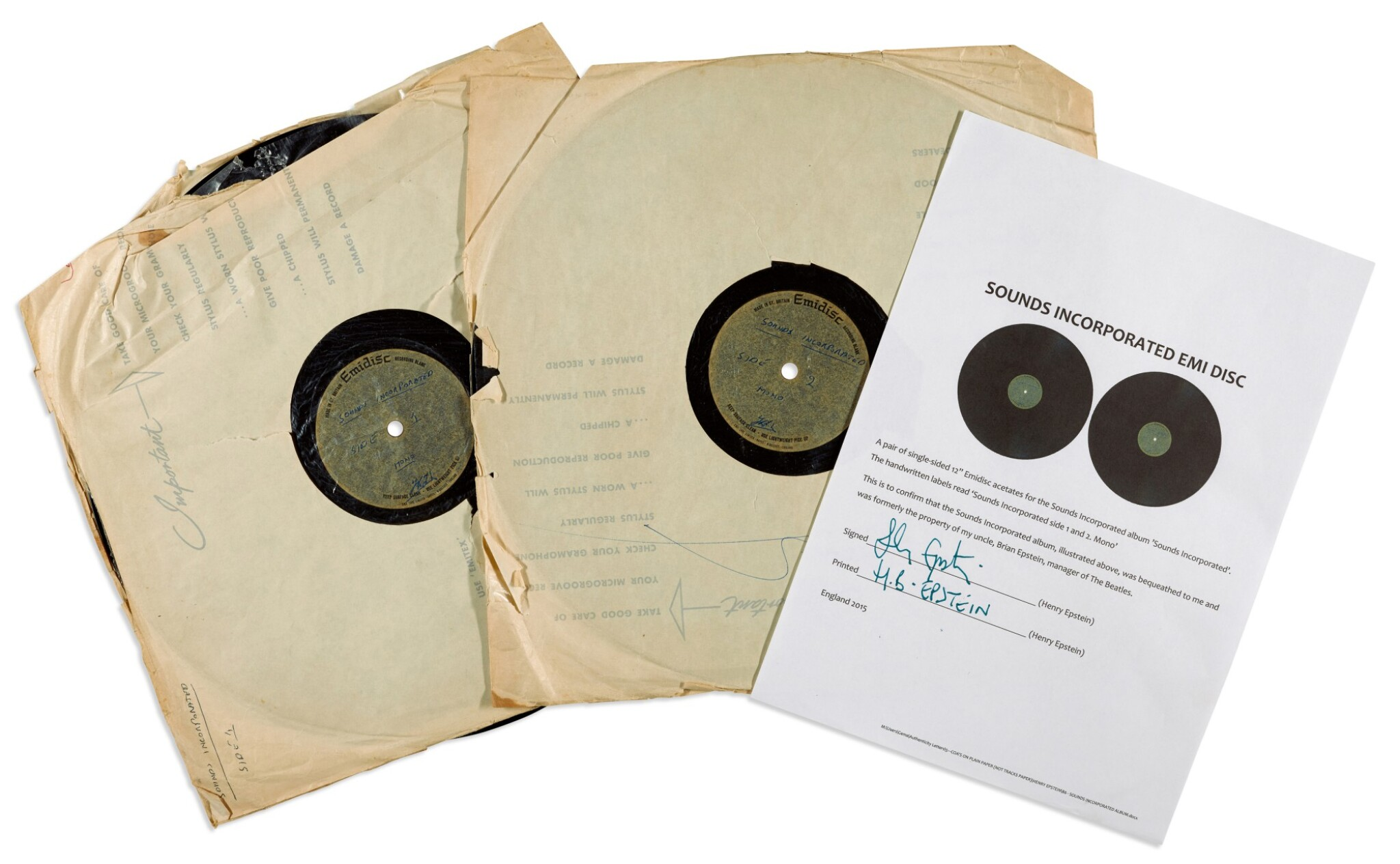 View full screen - View 1 of Lot 29. SOUNDS INCORPORATED | Acetates of their first album, 1964, previously owned by Brian Epstein.