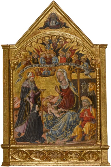 View 1. Thumbnail of Lot 57. MASTER OF THE ANCONETTE FERRARESI  |  THE NATIVITY, WITH SAINT ANTHONY ABBOT AND A SUPPLICANT.