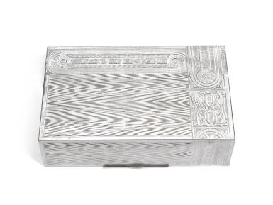A silver trompe l'oeil table cigar box, Ivan Krutikov, Moscow, 1908-1917