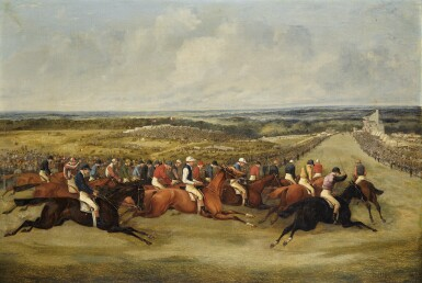 SAMUEL HENRY ALKEN, KNOWN AS HENRY ALKEN JNR. | Rounding Tattenham Corner; and Sir J. Hawley's Beadsman beating Lord Derby's Toxophilite, The Derby, 1858