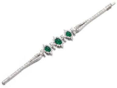 View 1. Thumbnail of Lot 1171. Emerald and diamond bracelet.