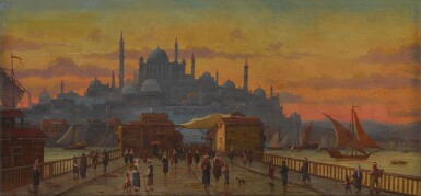 View 2. Thumbnail of Lot 123. Constantinople, a view of the Galata Bridge at sunset.