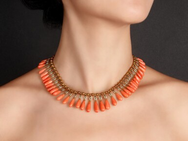 View 2. Thumbnail of Lot 1687. MIKIMOTO | CORAL AND ENAMEL FRINGE NECKLACE   御木本 | 珊瑚 配 琺瑯彩 項鏈   .