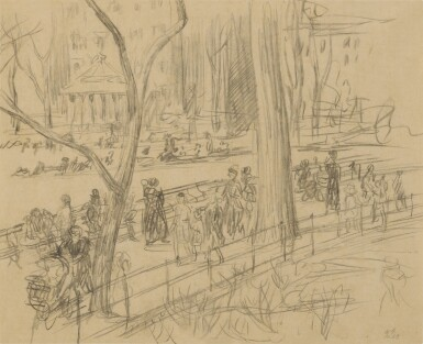 View 1. Thumbnail of Lot 127. Strolling in Washington Square.