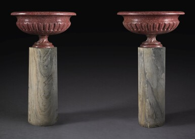 A PAIR OF LARGE SCALE ITALIAN CARVED RED EGYPTIAN PORPHYRY OVAL VASES ROME, 18TH CENTURY