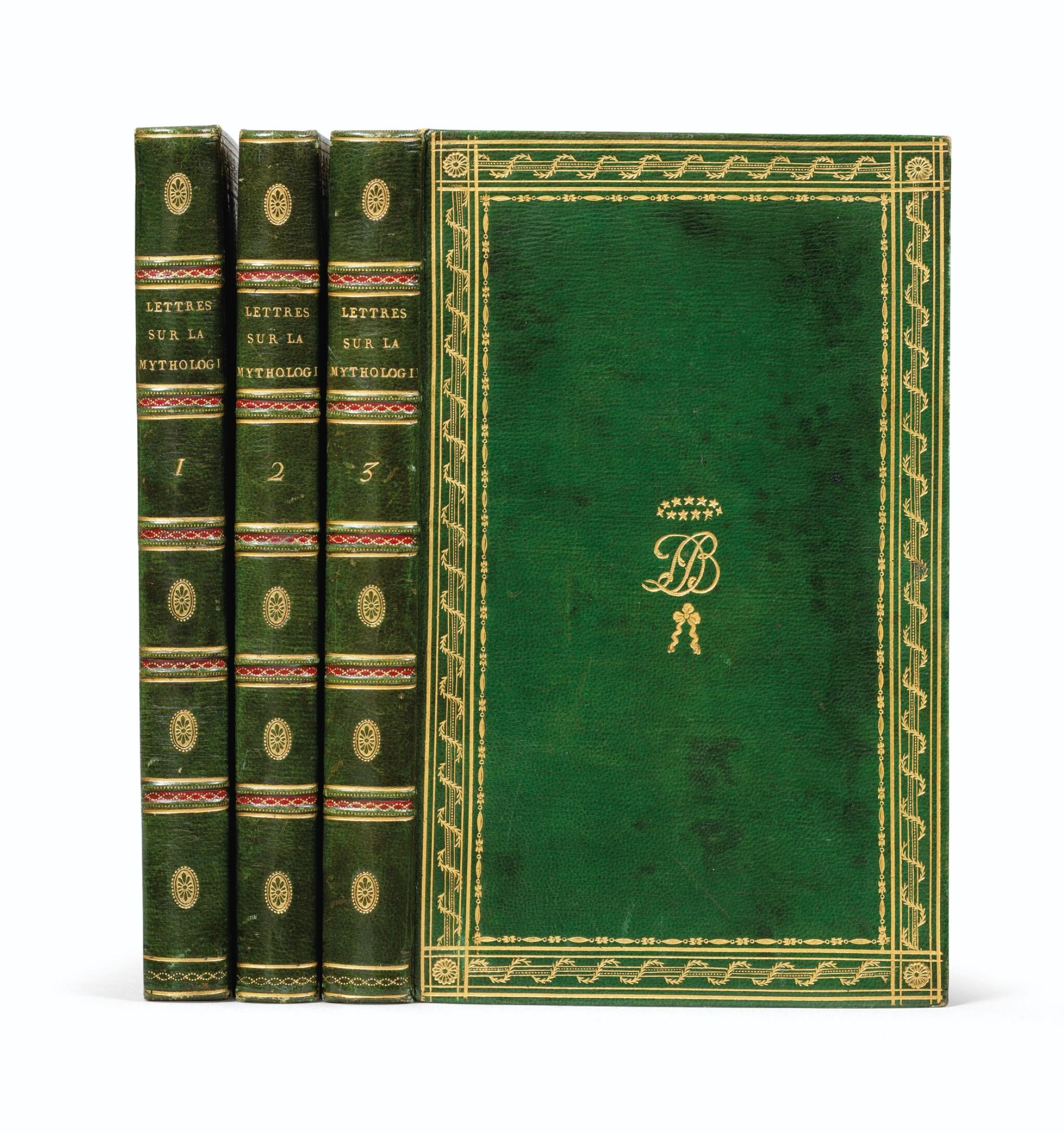 View full screen - View 1 of Lot 19. Lettres à Émilie... Paris, 1800. 3 tomes in-8. Bel exemplaire de Joséphine Bonaparte relié par Bradel..