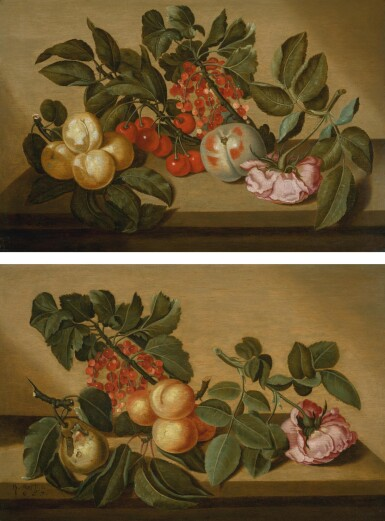 View 1. Thumbnail of Lot 144. BARTHOLOMEUS ASSTEYN |  Still life with apricots, cherries, currants, a peach, and a pink rose on a ledge; and Still life with a pear, currants, apricots and a pink rose on a ledge.