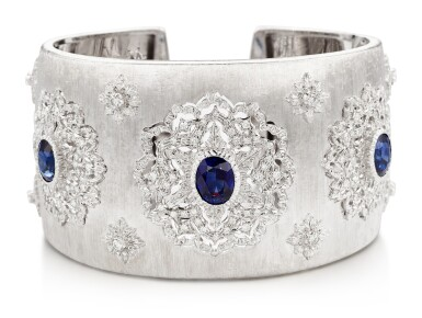 View 1. Thumbnail of Lot 1602. MARIO BUCCELLATI   SAPPHIRE AND DIAMOND CUFF-BRACELET   馬里奧 布契拉提   藍寶石 配 鑽石 手鐲.