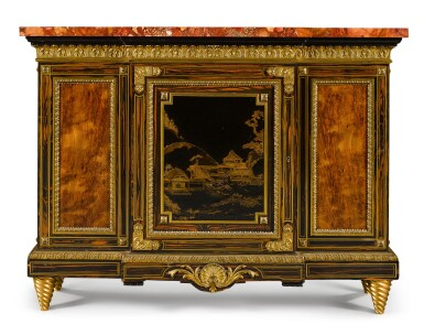 View 3. Thumbnail of Lot 179. A pair of Louis XIV style gilt-bronze mounted calamander and hardwood breakfront side cabinets, English, last quarter 19th century.