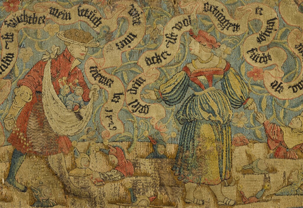 AN ALLEGORICAL EMBROIDERED FRAGMENT, GERMAN, DATED 1529