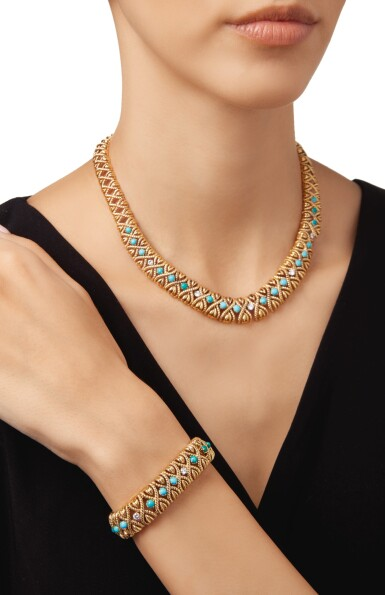 View 2. Thumbnail of Lot 292. GOLD, TURQUOISE AND DIAMOND NECKLACE AND BRACELET, VAN CLEEF & ARPELS, FRANCE.