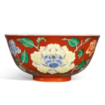 A fine and rare coral-ground famille-verte 'peony' bowl, Yongzheng yuzhi mark and period | 清雍正 珊瑚紅地五彩牡丹紋盌  《雍正御製》款