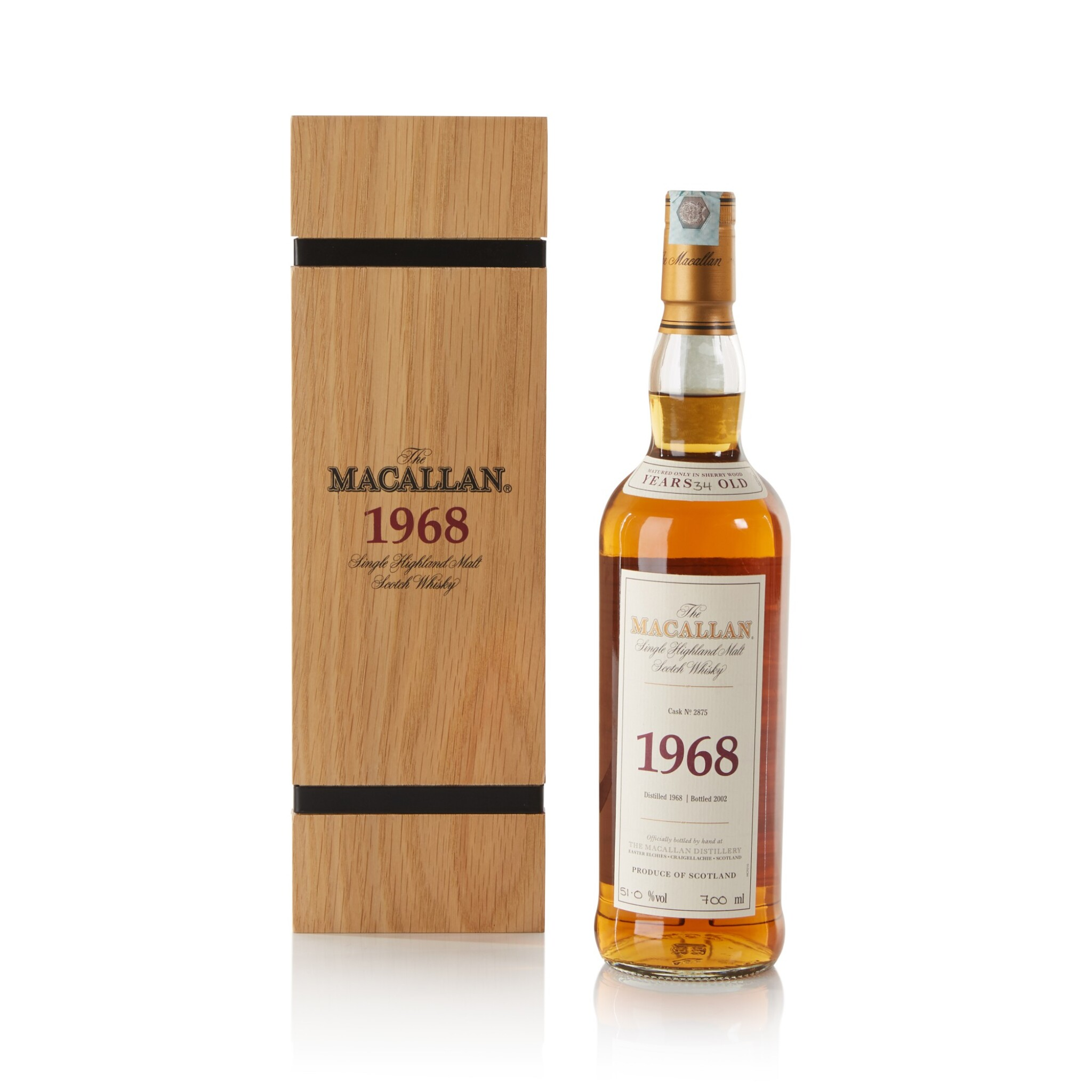 View full screen - View 1 of Lot 21. The Macallan Fine & Rare 34 Year Old 51.0 abv 1968 .