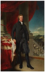 SIR THOMAS LAWRENCE, P.R.A.  |  PORTRAIT OF THOMAS DAWSON, 1ST VISCOUNT CREMORNE, FULL LENGTH, WITH HIS HAND RESTING ON A TABLE