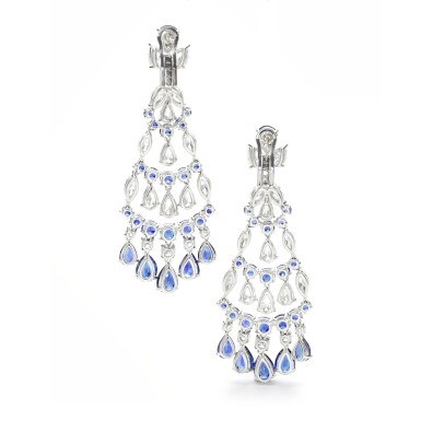GRAFF   PAIR OF SAPPHIRE AND DIAMOND PENDENT EARRINGS