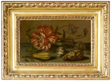 View 2. Thumbnail of Lot 125. BALTHASAR VAN DER AST |  STILL LIFE WITH A CARNATION AND A CROCUS, TWO SHELLS, AND A DRAGONFLY, SPIDER AND FLIES, ALL ON A STONE LEDGE.