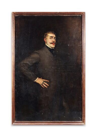 View 1. Thumbnail of Lot 60. LA GANDARA. Portrait de Jean Lorrain. [1902]. Huile sur toile. de la collection personnelle de La Gandara..