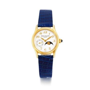 View 1. Thumbnail of Lot 702. REFERENCE 4856 YELLOW GOLD WRISTWATCH WITH MOON-PHASES MADE IN 2002.