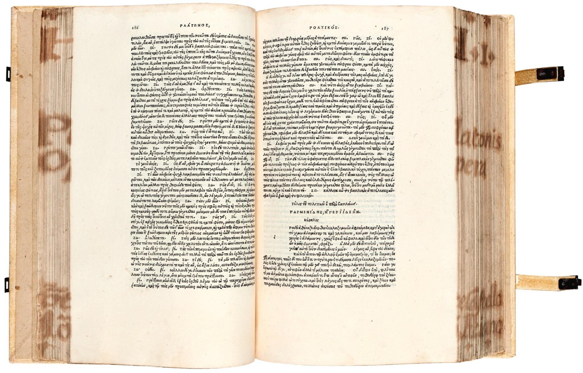 View full screen - View 1 of Lot 6. Plato. Omnia Platonis opera. Venice, Aldus, 1513. modern pigskin, the Garden copy.