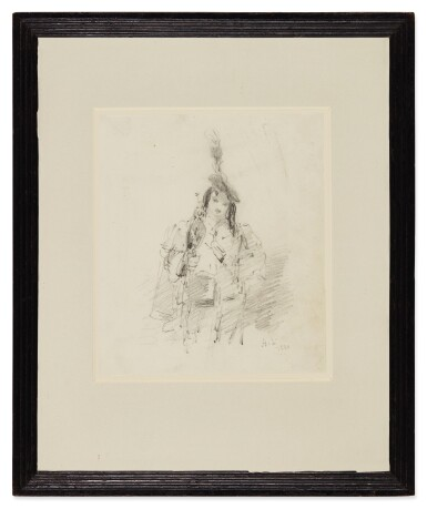 """View 2. Thumbnail of Lot 641. HENRY LIVERSEEGE   THREE-QUARTER LENGTH STUDY OF AN """"ORIENTAL"""", WITH A FALCON ON HIS WRIST."""