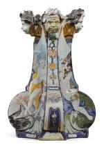A ROUEN FAIENCE PEDESTAL STAND FOR A GLOBE, CIRCA 1725, MADAME LE COQ DE VILLERAY FACTORY