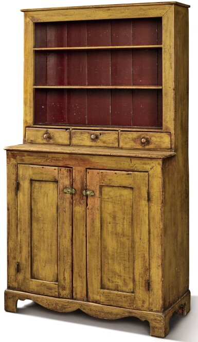 View 1. Thumbnail of Lot 1527. YELLOW-PAINTED PINE STEP-BACK OPEN-TOP CUPBOARD, PENNSYLVANIA, CIRCA 1840.