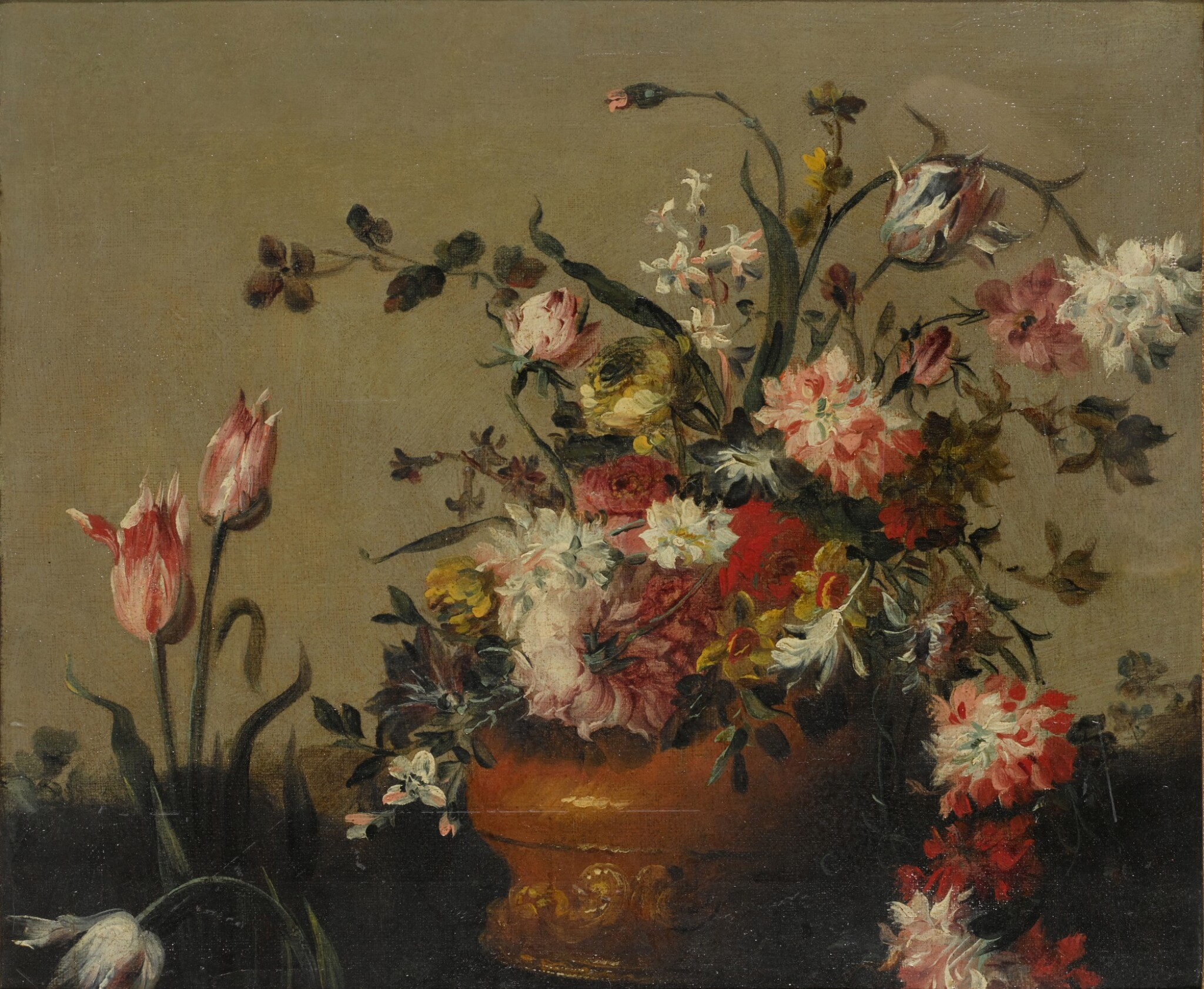 View 1 of Lot 202. Still life with a vase of peonies and tulips.