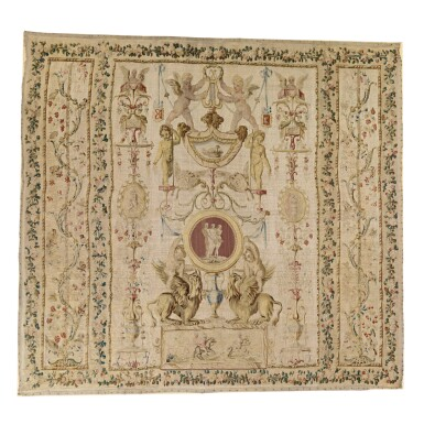 View 1. Thumbnail of Lot 821. A LOUIS XVI ALLEGORICAL 'GROTESQUE' TAPESTRY, PROBABLY GOBELINS  LAST QUARTER 18TH CENTURY.
