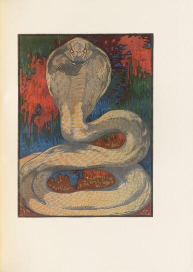 View 6. Thumbnail of Lot 128. Le Livre de la Jungle, 1919. Exceptionnel ex. avec laque de Dunand et plaque en argent de Jouve.