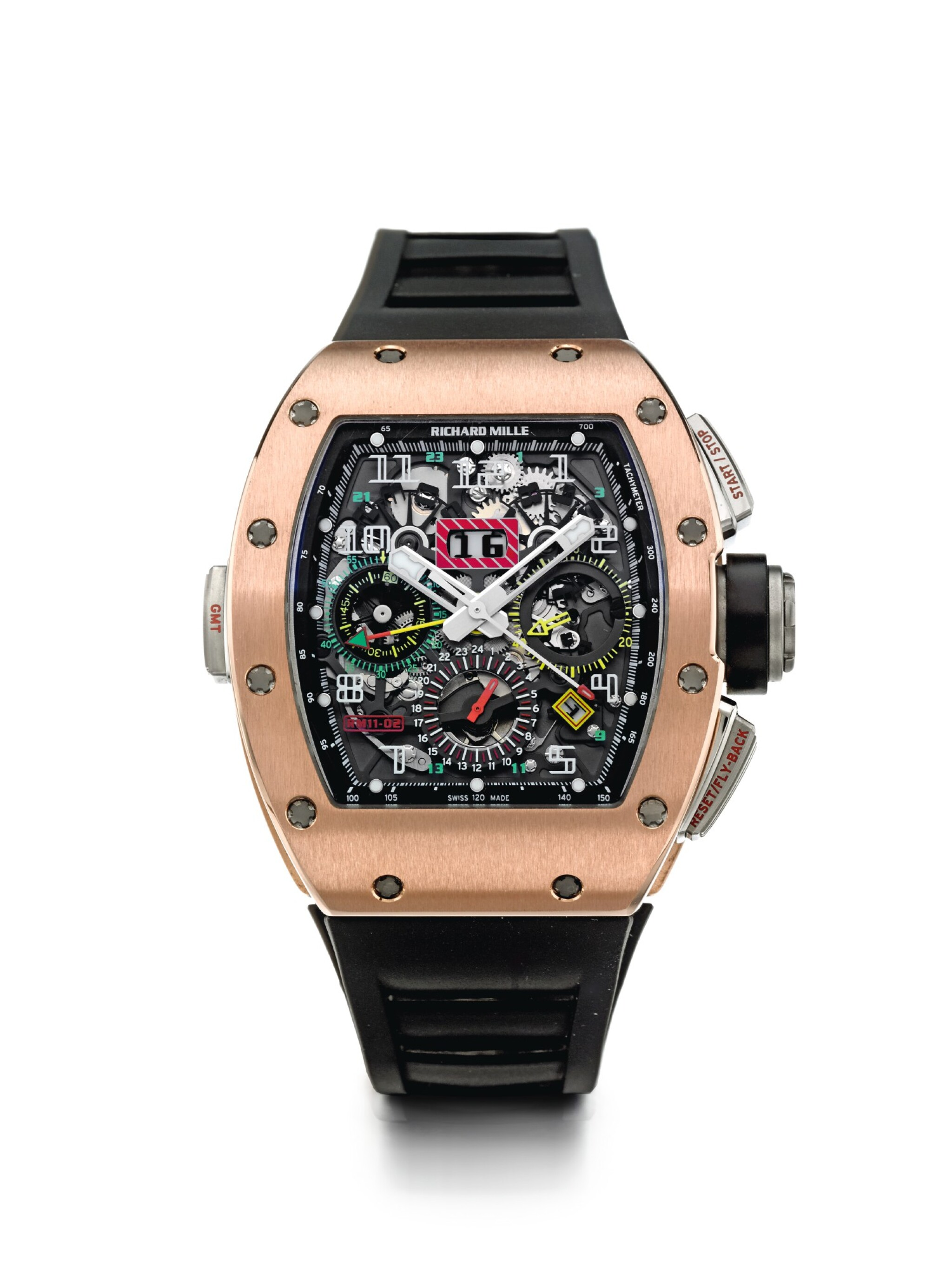View 1 of Lot 6. RICHARD MILLE | RM11-02 RG   A TITANIUM AND PINK GOLD AUTOMATIC SEMI-SKELETONIZED DUAL TIME, FLYBACK CHRONOGRAPH WRISTWATCH WITH MONTH AND DATE, CIRCA 2012.