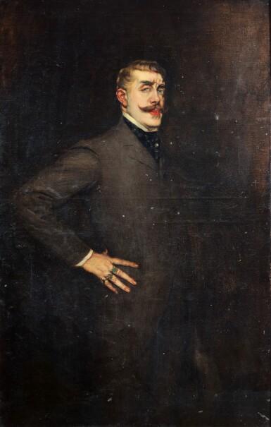 View 2. Thumbnail of Lot 60. LA GANDARA. Portrait de Jean Lorrain. [1902]. Huile sur toile. de la collection personnelle de La Gandara..