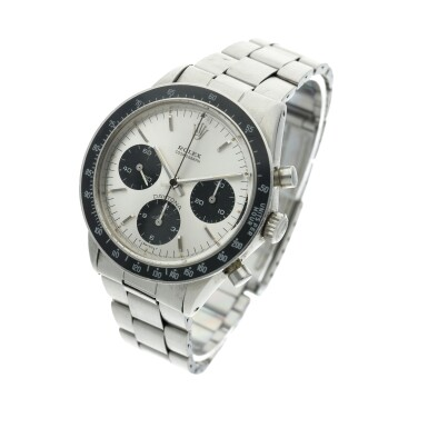 View 2. Thumbnail of Lot 278. Reference 6264 Daytona  A stainless steel chronograph wristwatch with bracelet, Circa 1971 .