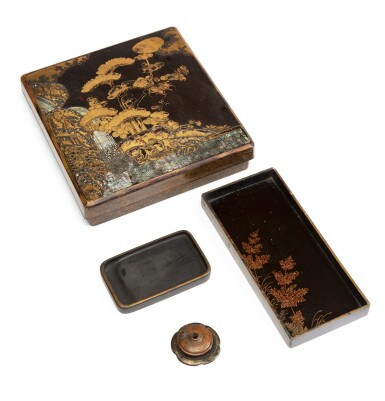 View 3. Thumbnail of Lot 224. A mother-of-pearl inlaid gold and black lacquer suzuribako, Japan, Edo period.