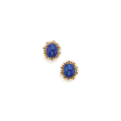 PAIR OF LAPIS LAZULI AND DIAMOND EARCLIPS