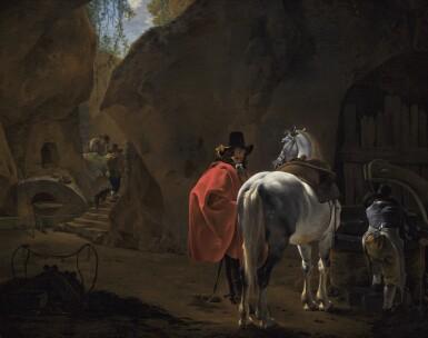 JAN ASSELIJN | A gentlemanwith a grey horse in a cavernous landscape